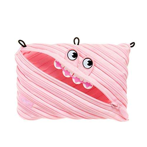 ZIPIT Gorge 3-Ring Binder Pencil Pouch, Large Capacity Pen Case for Binders, Holds up to 60 Pens, Made of One Long Zipper! (Pink)