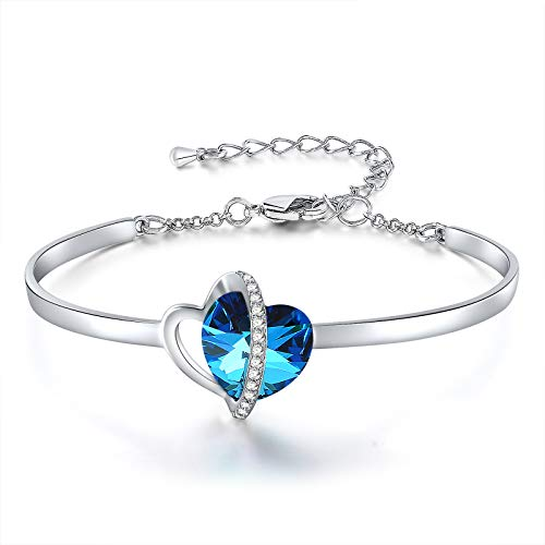 SNZM Heart Bangle Bracelet for Women Blue Crystal Adjustable Bracelet Birthday Anniversary Jewellery Gifts for Mum Wife Girlfriend