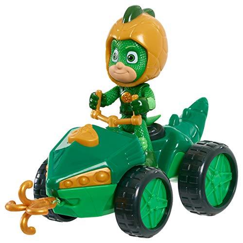 Simba 109402422 - PJ Masks Quad Gecko / mit Superhelden Action Figur / mit integrierter Seilwinde / grün mit goldenen Akzenten / Figur 8cm groß, für Kinder ab 3 Jahren