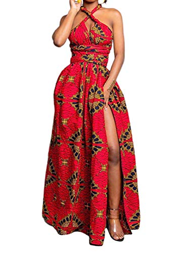 Vimoisa Women Sexy Boho African Dress Long Maxi Dress V-Neck Multi-Way Dress Pleated Dress Floral Print