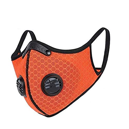 KPWIN Sports Mask, Dustproof Mask Activated Carbon Filtration Exhaust Gas Anti Pollen Allergy PM2.5 Workout Running Motorcycle Cycling Mask (Orange)