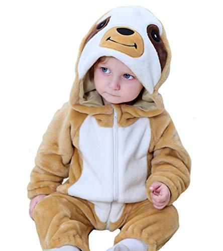 Doladola Bebé Niño Niña de Dibujos Animados Animal con Capucha Onesies Infantil Pijama Mameluco (Size100 (Altura:80-90cm / 1.5-2 años bebé), Perezosos)