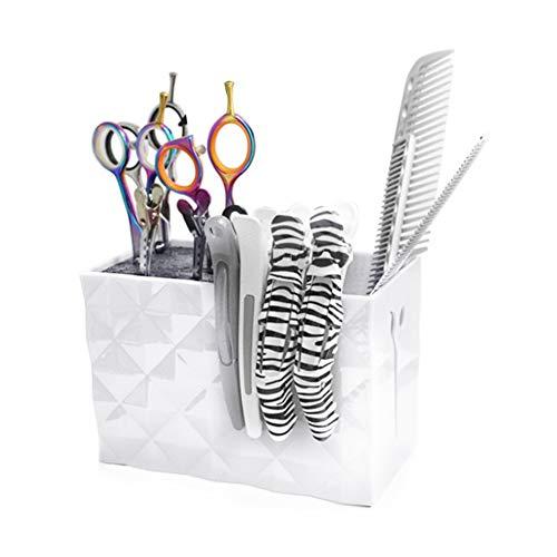 Soporte para afeitadora de corte de pelo, almacenamiento profesional, peluquería, herramientas de peluquería, accesorios, caja de almacenamiento para tijeras, peine, organizador de pinzas(BLANCO)
