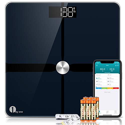 1byone Smart Body Fat Scale, Bluetooth Digital Weight BMI Bathroom Scales with App Support, Accurate ITO Coating, 180 kg / 400 Pounds (lbs), 6 AAA Batteries and 1 Body Tape Measure Included (Black)