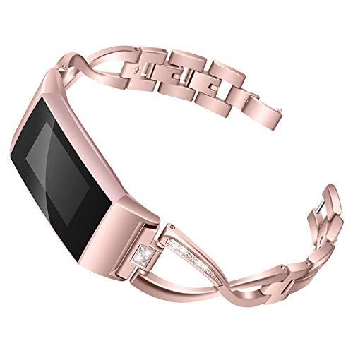 XIALEY Correa Compatible con Fitbit Charge 3 / Fitbit Charge 4, Pulseras De Repuesto para Banda De Diamantes De Imitación con Brazalete De Metal Deportivo Mujer para Charge 4 / Charge 3,Rose Pink