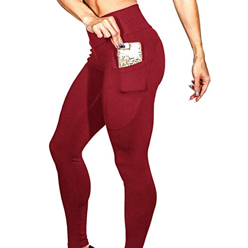YUJIAKU Yogahosen/Enge Hosen/Atmungsaktive/Elastische Yoga Hosen Solide Workout Slim Fit Stoff Leggings Fitness Sport Laufen Yoga Athletic Hosen Mit Tasche Leeging Women