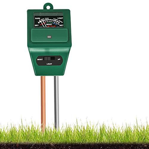 EasyULT 3 in 1 Tester per Terreno, Kit Tester per Piante con Misuratore, Tester per Il Suolo Misuratore di Umidità Luce PH dell acidità Delle Piante, per Piante, Giardino (Verde)