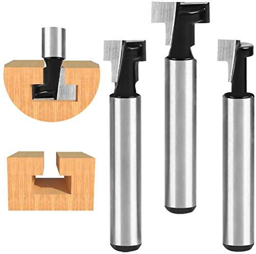 flintronic T-Slot carburo di cemento con lavorazione del legno Cutter Router Cnc Bit, 3Pz T-Slot Track Fresa Legno Fresatrice Verticale Giallo per 1/2'', 3/8'' & 5/16'' Tagliente Bordo(5/16'' Stinco)