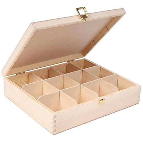 Creative Deco Tee-Box aus Natürliches Kiefernholz | 29 x 25 x 7,5 cm | mit 12 Fächer und Deckel |...
