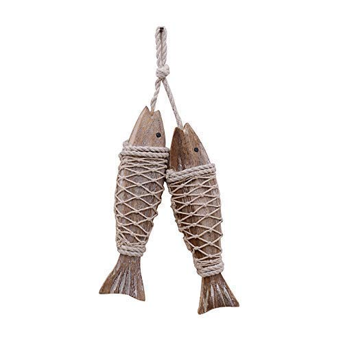 Only 2 Pieces Nautical Wooden Fish Wall Hanging Ornaments Home Wall Decor Hanger Gift