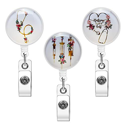 Soleebee 3 Pack Glass Retractable Badge Reel, Nurse Badge Holder with 360° Swivel Alligator Clip 24'' Retractable ID Badge Holder for Office Doctor (Medical Care Series 1)