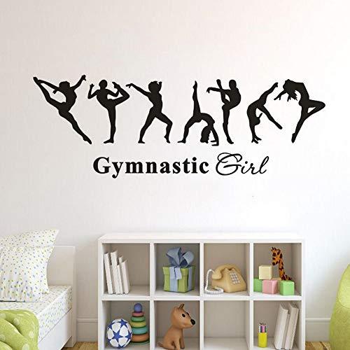 ONETOTOP - Adhesivo de pared extraíble de vinilo para gimnasia, decoración de habitación infantil, diseño de bailarina y póster de pared 119 x 42 cm