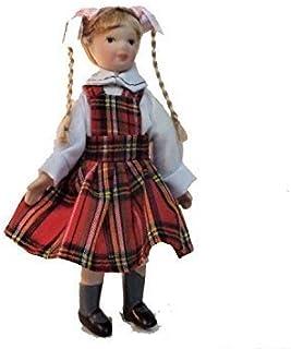 Melody Jane Dollhouse Girl in Tartan Pinafore Miniature Porcelain 1:12 People