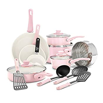GreenLife Soft Grip Healthy Ceramic Nonstick Cookware Pots and Pans Set 16 Piece Pink