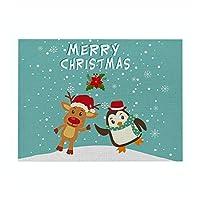 ランチョンマット クリスマス 食事マット テーブルマット プレイスマット 滑り止め 断熱 防汚 シンプル 北欧 可愛い おしゃれ 子供用 家庭用 レストラン用 食卓飾り 綿麻 32* 42cm #373 (色 : 6, サイズ : 4pc)
