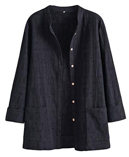 Mallimoda Damen Leinenblusen Cardigan Strickjacke Button-Down Langarmshirt Kurzmantel mit Taschen Schwarz XL