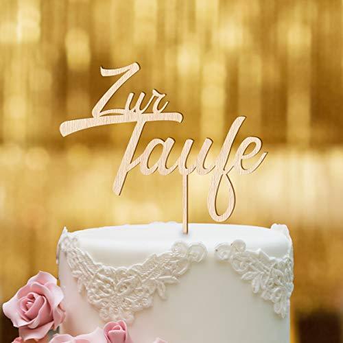 Dankeskarte.com Cake Topper Zur Taufe Zweizeilig - für die Tauftorte - Buchenholz - XL - Tortenaufsatz, Kuchen, Tortendeko, Tortenstecker, Kuchanaufsatz, Kuchendeko