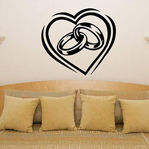 YuanMinglu Herzförmige Hochzeit Verlobungsring Liebe Vinyl Schlafzimmer Dekoration Paar Ring Wandtattoo Wandkunst Dekoration Aufkleber schwarz 63x57cm