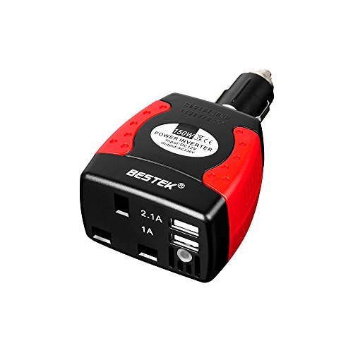 BESTEK MRI1513U-UK PLUG 150 W Power Inverter Car Laptop Charger DC 12V to AC 230V 240V Converter Adapter with 3-Pin Plug and Dual USB Ports