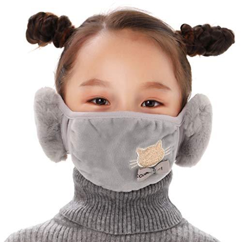 BABUYTOP Kids Warmer Face_Mask Reusable Washable Winter Anti Dust Windproof Earmuff Cloth_Mask for Girls Boys Earwarmer Gray
