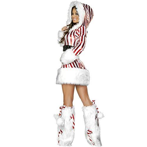 ZXYSHOP Frau Santa Claus Damen-Kostüm und Hut Frau Sexy Weihnachtskleid Santa Outfit Cosplay Performance Kleidung für Weihnachten Halloween Party Einheitsgröße Section B-One Size