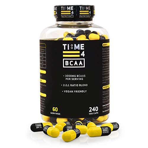Time 4 BCAA Capsules – 240 BCAA Capsules Not BCAA Tablets - High Strength Branch Chain Amino Acids - Optimum 2:2:1 Ratio Amino Acids – BCAA Supplement Made By Fermentation Process