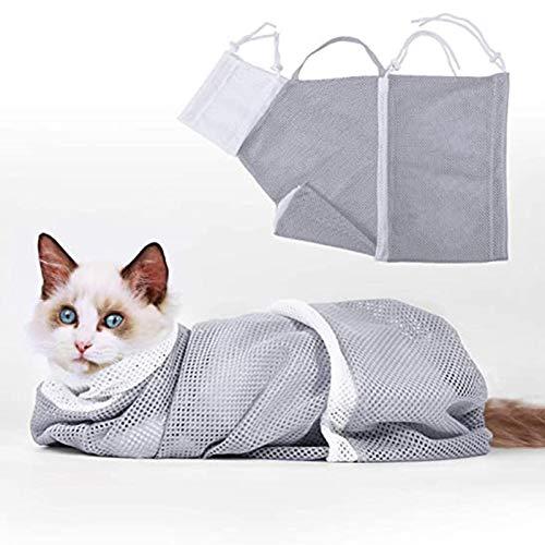 Jiaermei Katze Pflege Tasche,Polyester Mesh Katze Badetasche,Haustier Reinigung Fellpflege Tasche Mit Reißverschluss