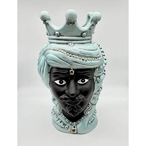 A&D Vaso Porcellana Testa di Moro Uomo Turchese 35 cm