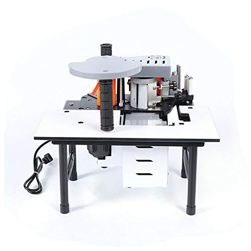110V Woodworking Edge Bander Banding Machine Portable Edge Bander Curve Straight Edge Banding Machine, Double Side Gluing Edgebander Set with 200g Glue-Melting Tank 120-180ºC Temperature Control