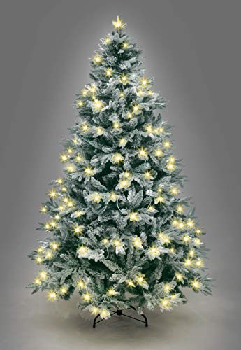 SHATCHI Pre-Lit Lapland Fir Artificial Green Christmas Tree Snow Flocked PE PVC Mixed Tips Hinged Branches Bushy Xmas Home Snowy Decorations, Metal Stand – (4ft-10ft), Warm White LEDs, 8ft