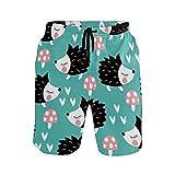 N\O Bañador para hombre con bolsillos y erizo de seta de secado rápido, pantalones cortos de playa con cintura elástica y forro de malla, multicolor, XL