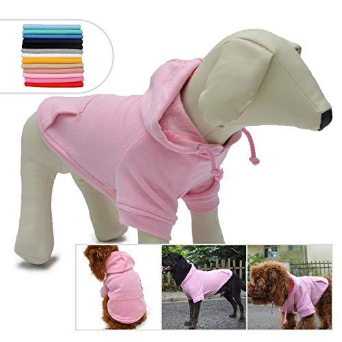 longlongpet Blank Basic Hoodie Sweatshirt für Hunde, 100% Baumwolle, 12 Farben, 11 Größen, passend für kleine, mittelgroße Dackel, große Hunde