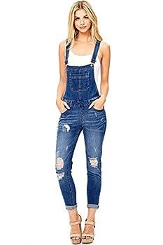 Wax Women s Juniors Ankle Length Skinny Leg Denim Overalls Dark Denim Medium