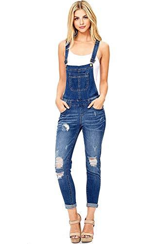 Wax Women's Juniors Ankle Length Skinny Leg Denim Overalls, Dark Denim, Medium