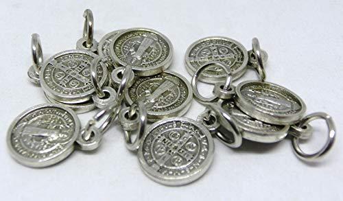 GTBITALY 60.046.30 medalla de San Benito de plata de 1 cm con anillo de exorcismo - Lote de 10 unidades para pulseras