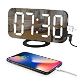 LED Digital Alarm Clock with Large 6.5' Easy-Read Display, Easy Snooze Function, Diming Mode, Mirror Surface, Dual USB Charging Ports for Bedroom, Living Room, Office, Travel