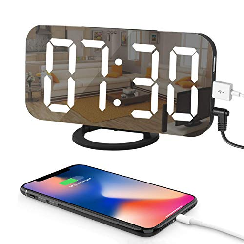 LED Digital Alarm Clock with Large 6.5' Easy-Read Display, Easy Snooze Function, Diming Mode, Mirror...