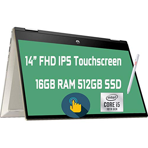 """2021 Flagship HP Pavilion x360 2 in 1 Laptop 14"""" Diagonal FHD IPS Touchscreen 10th Gen Intel 4-Core i5-1035G1 (Beats i7-8665U) 16GB RAM 512GB SSD Fingerprint USB-C Wifi6 B&O Win10 + iCarp Pen"""