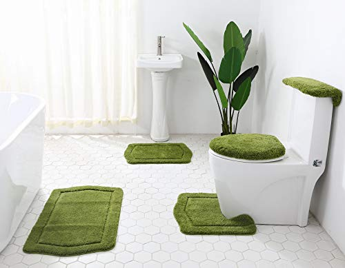 5-Piece Luxurious Ultra Soft Bath Rug Set. Bath Rugs, Tank Cover, lid Cover, Comodo Rug. (Olive Green)