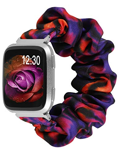 TOYOUTHS Scrunchie Bands Compatible with Fitbit Versa 2/ Versa Lite Special Edition Women Cute Elastic Fabric Strap Replacement Bracelet Scrunchy Wristband (Tie Dye Orange Red Purple, Large)