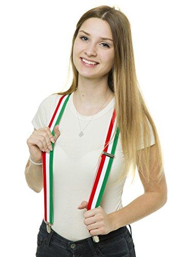 shenky - Bretelle a forma di Y con 3 clip - unisex - carnevale e feste in maschera - Italia - misura unica