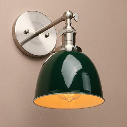 XFZ / Industrielle Vintage Schalter-Wandleuchten, Korridor-Wandleuchte für Küche Restaurant Schlafzimmer, Dunkelgrüner Metall Lampenschirm E27 (Dunkelgrün)