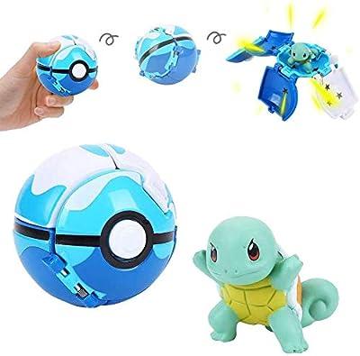 su ma Poké Bolas Pokéball, Pokemon Figuras with Throw Pop Poké Ball Toy Set para Niños y Adultos Celebración de Fiestas Divertido Juego de Juguete de Regalo (Squirtle) de