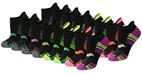Saucony Women's Performance Heel Tab Athletic Socks (8, Black (16 Pairs), Shoe Size: 5-10
