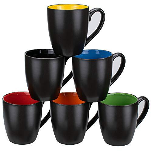 Foraineam Set of 6 Coffee Mugs 16 Ounces Matte Black Porcelain Mug Set Large-sized Ceramic Restaurant Drinking Cups for Coffee, Tea, Juice, Cocoa