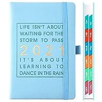 2021年のカレンダーノート、328ページ、2021年のファッションアジェンダ1月から12月、厚手のノートブック、A5レザーソフトカバー、スクールプランナー効率マガジン (Color : A)