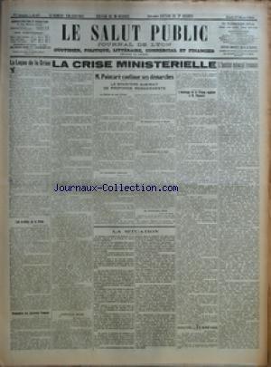 SALUT PUBLIC (LE) [No 87] du 27/03/1924 - LA LECON DE LA CRISE - LES A-COTES DE LA CRISE - PRONOSTICS DES JOURNAUX FRANCAIS - LA CRISE MINISTERIELLE 6 SYMPATHIES BELGES - M POINCARE CONTINUE SES DEMARCHES - LE MINISTERE SUBIRAIT DE PROFONDS REMANIEMENTS - L'HOMMAGE DE LA PRESSE ANGLAISE A M POINCARE - NOUVELLES BREVES - LA SITUATION - L'INSTITUT COLONIAL LYONNAIS