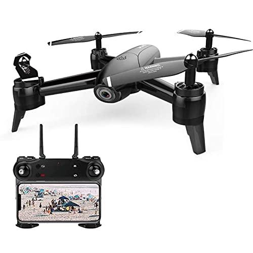 FMHCTN Drone a Flusso Ottico con Doppia Fotocamera 1080P WiFi grandangolare FPV Quadcopter per Fotografia con Gesto di Mantenimento dell'altitudine,Nero