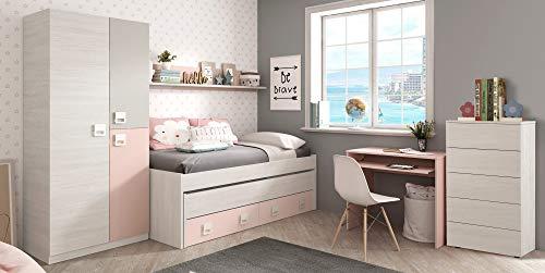 Miroytengo Pack Muebles Dormitorio habitación Juvenil Color Rosa (Cama Nido+Armario+Escritorio+Sifonier) con somieres