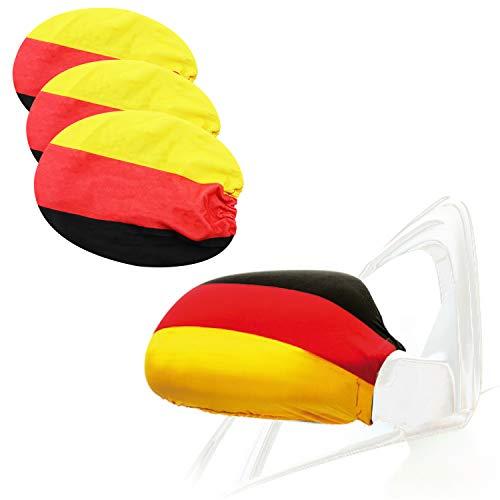 com-four® 4X Außenspiegel Fahne - Fanartikel Deutschland - Außenspiegel-Überzug für Fußball EM und WM - Überzug für Autospiegel (4 Stück)